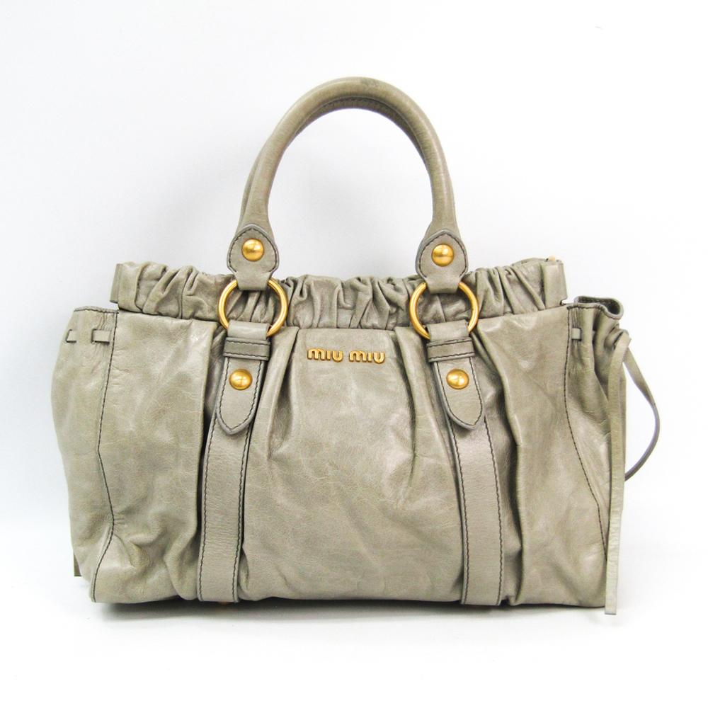 Miu Miu X72 VITELLO LUX RT0383 Women's Leather Handbag Light Gray