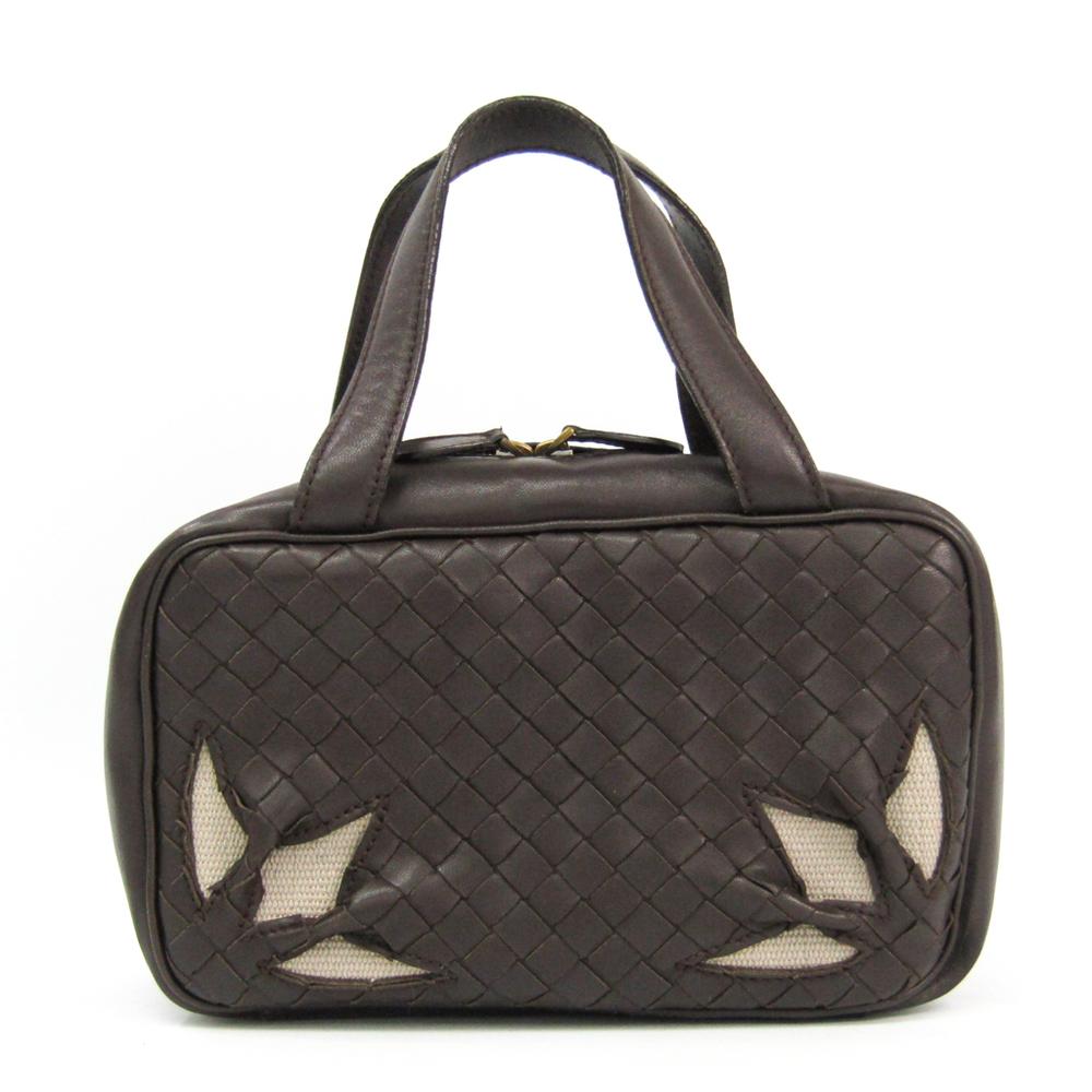 Bottega Veneta Intrecciato Cosmetic Bag 147740 Leather Handbag Dark Brown