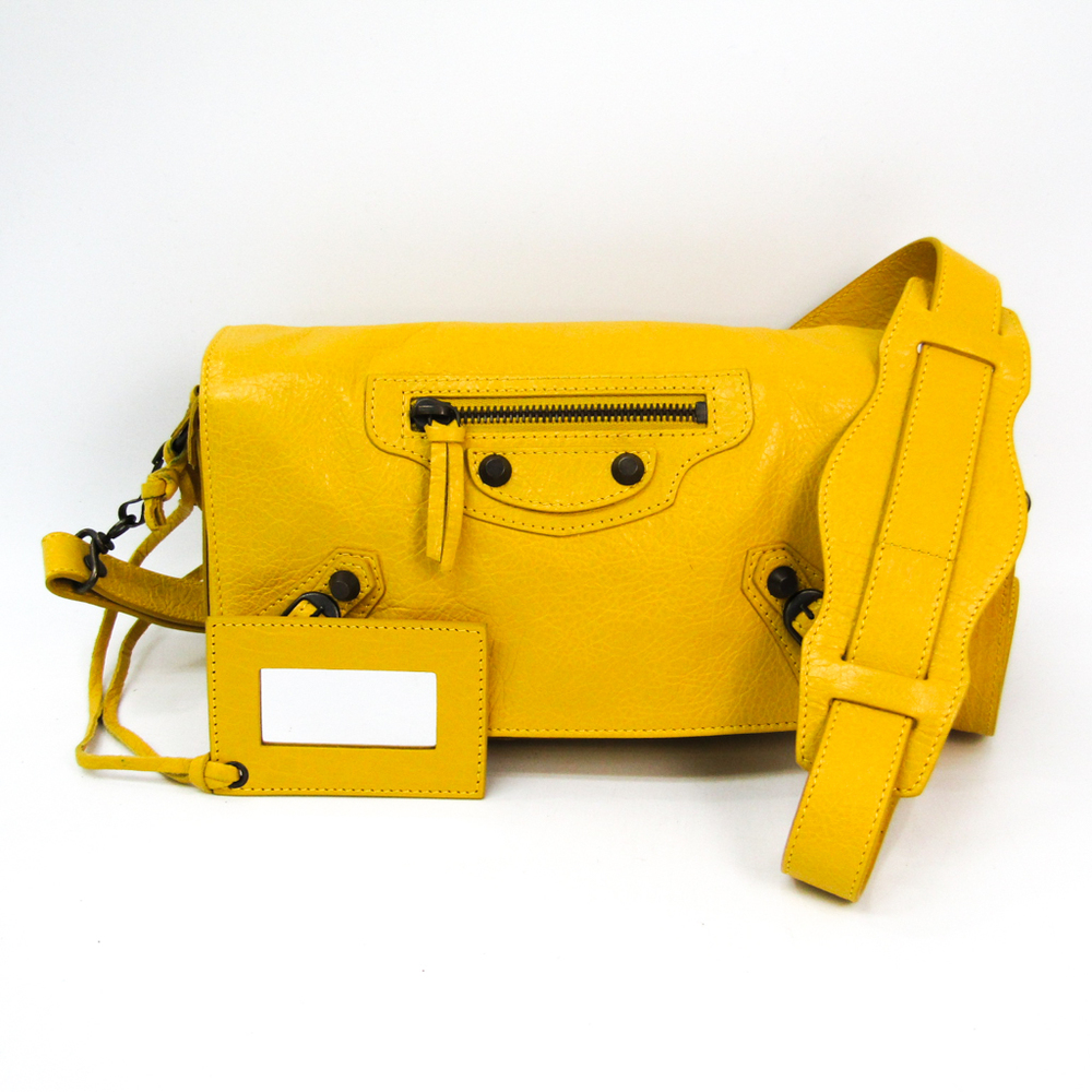 Balenciaga Classic The Toolkit 327101 Women's Leather Shoulder Bag Yellow