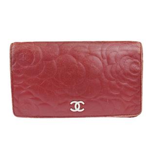 シャネル(Chanel) カメリア ココマーク レザー 長財布(二つ折り) レッド