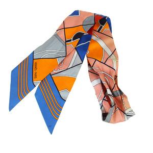 エルメス(Hermes) ツイリー シルク スカーフ ブルー,オレンジ,ピンク