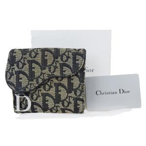 クリスチャン・ディオール(Christian Dior) トロッター キャンバス,レザー 財布(二つ折り) ブラック