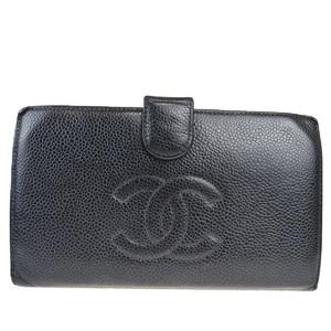 シャネル(Chanel) ココマーク キャビアスキン 長財布(二つ折り) ブラック