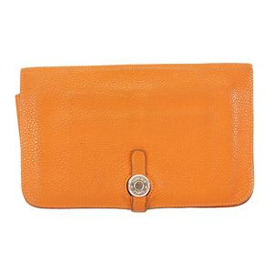 エルメス 財布 ドゴン GM □F刻印 レザー オレンジ シルバー金具