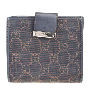 Gucci Shelly GG Pattern Canvas,Leather Wallet (bi-fold) Brown