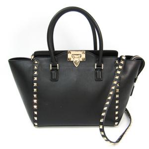 Valentino Garavani Rock Studs ZW2B0540BOL Women's Leather Handbag,Shoulder Bag Black