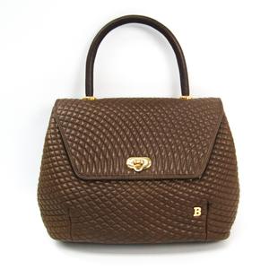 Bally Quilting Stitch Leather Handbag Brown