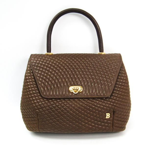 Bally Quilting Stitch Leather Handbag Brown