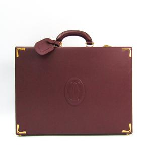 Cartier Must Attache Case Men's Leather Briefcase Bordeaux
