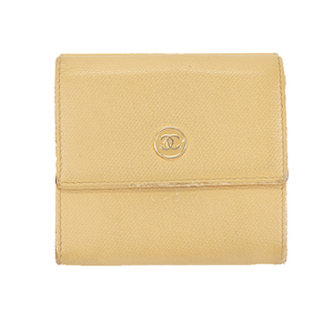 Auth Chanel Coco Button Tri-fold Wallet Women's Leather Wallet (tri-fold) Beige