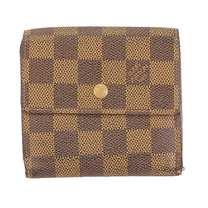 Auth Louis Vuitton Damier Portefeuille Elise N61654 Women's Damier Canvas Wallet (tri-fold) Ebene