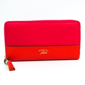Gucci Bamboo Tassel 307984 Women's Leather Long Wallet (bi-fold) Orange,Pink