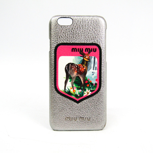 ミュウミュウ(Miu Miu) MADRAS BLASON バンビデザイン 5ZH008 レザースマホ・携帯ケース iPhone 6s 対応 マルチカラー,ピンク,シルバー