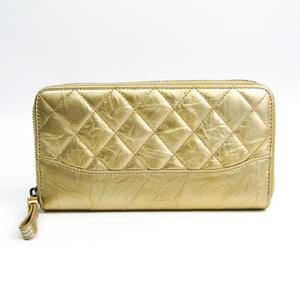 Chanel Matelasse Women's Leather Long Wallet (bi-fold) Gold