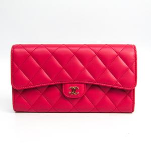Chanel Matelasse Women's  Lambskin Long Wallet (bi-fold) Pink
