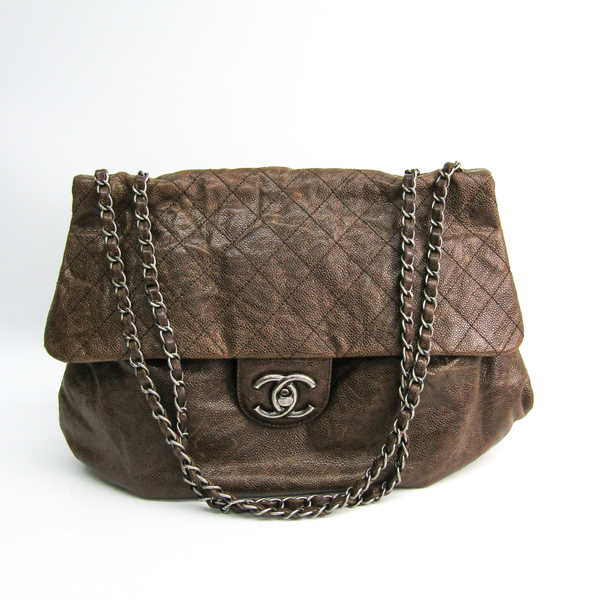 Chanel Caviar Skin Chain Shoulder Women's Caviar Leather Shoulder Bag Brown