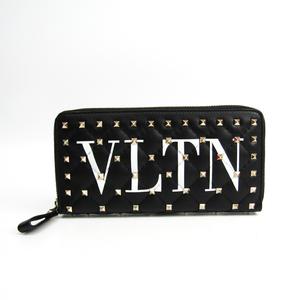 Valentino VLTN Rockstud Spike PW0P0P00XQC Women's  Calfskin Long Wallet (bi-fold) Black