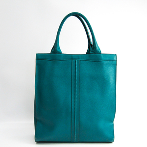 Valextra Medium Punch V5U07 Unisex Leather Tote Bag Dark Green