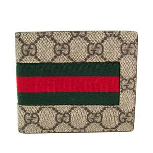 グッチ(Gucci) GGスプリーム NEW WEB 408826 ユニセックス GGスプリーム,キャンバス 財布(二つ折り) ベージュ,ブラウン,グリーン,レッド