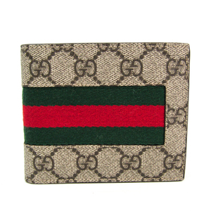Gucci GG Supreme NEW WEB 408826 Unisex GG Supreme,Canvas Wallet (bi-fold) Beige,Brown,Green,Red Color