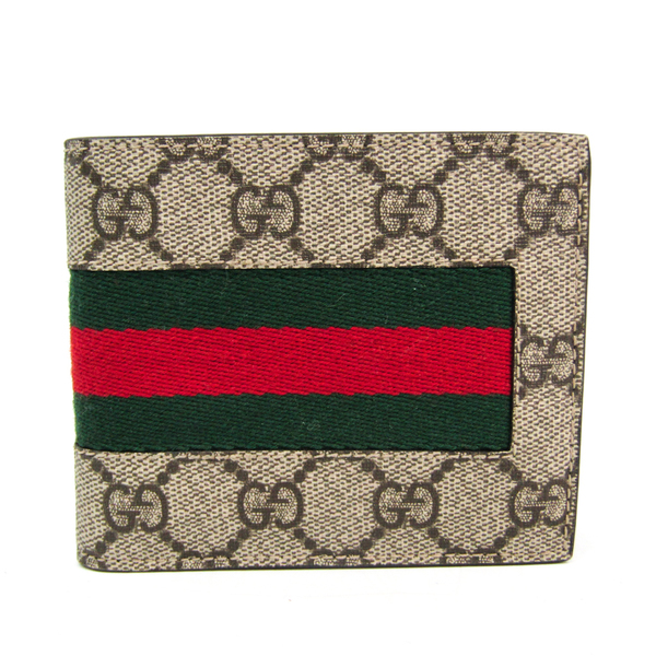 Gucci GG Supreme NEW WEB 408826 Unisex GG Supreme,Canvas Wallet (bi-fold) Beige,Brown,Green,Red Color