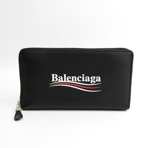 Balenciaga Everyday Logo 516362 Unisex  Calfskin Wallet (bi-fold) Black
