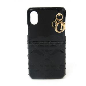 クリスチャン・ディオール(Christian Dior) カナージュ ステッチ レザースマホ・携帯ケース iPhone X 対応 ブラック