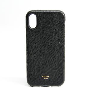 セリーヌ(Celine) シンプル ロゴプリント 10C413BK6 レザースマホ・携帯ケース iPhone X 対応 ブラック