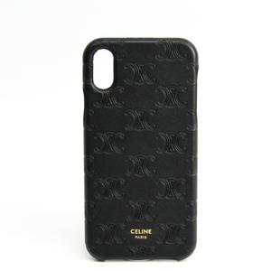 セリーヌ(Celine) トリオンフ柄 レザースマホ・携帯ケース iPhone X 対応 ブラック