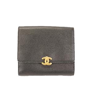 Auth Chanel Wallet Coco Mark Women's Leather Wallet (bi-fold) Black