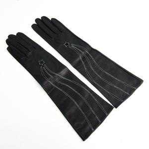 エルメス(Hermes) 手袋 グローブ レディース ロング丈 ネイビーブラック レザー