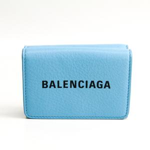 Balenciaga Everyday Compact Wallet 551921 Unisex Leather Wallet (tri-fold) Blue