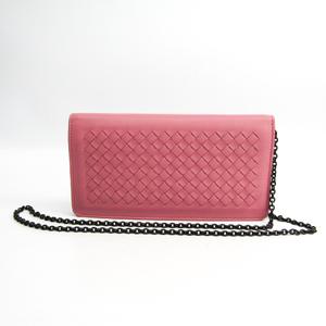 Bottega Veneta Intrecciato 445153 Women's  Lambskin Chain/Shoulder Wallet Pink