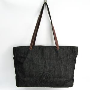 シャネル(Chanel) ココマーク レディース デニム,レザー トートバッグ ブラック,ブラウン