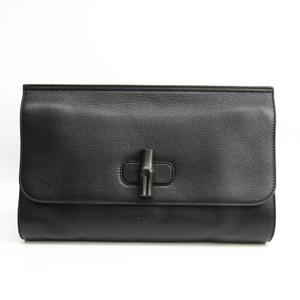 グッチ(Gucci) バンブー 387220 ユニセックス レザー クラッチバッグ ブラック