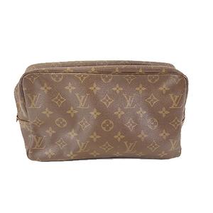 Auth Louis Vuitton Monogram Trousse Toilette28 M47522 Men,Women,Unisex Clutch Bag,Pouch Brown
