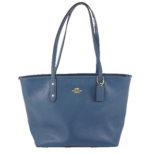 Auth Coach F58864 Women's Leather Tote Bag Blue