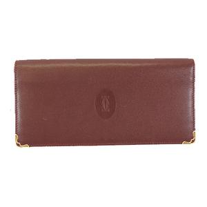 Auth Cartier Must Bifold Long Wallet Women's Leather Long Wallet (bi-fold) Bordeaux