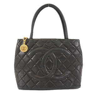 Auth Chanel Medalion Tote Women's Leather Handbag,Tote Bag Black