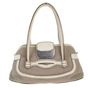 Tod's Canvas,Leather Shoulder Bag Beige