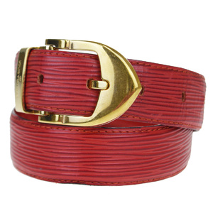 Louis Vuitton Epi Sunture Classic R15007 Women's Leather Belt Red Color