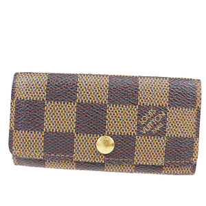 Louis Vuitton Damier Multicule 4 N62631 Leather Key Case Ebene