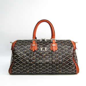 Goyard Croisiere Leather,PVC Boston Bag Black,Brown,White