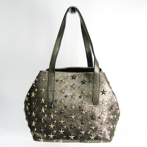 Jimmy Choo SOFIA S Metallic Mix Women's Leather Studded Tote Bag Gold,Gray