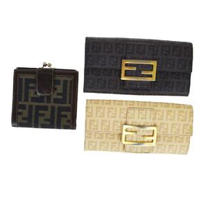 フェンディ(Fendi) ズッカ 3セット PVC,ナイロン 長財布(二つ折り) ベージュ,ブラウン