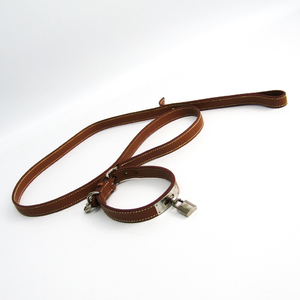 Hermes Kelly 2-piece Set Dog Leash Togo Leather Gold