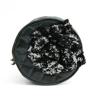 シャネル(Chanel) カメリア マトラッセ 丸型 レディース レザー ポーチ ブラック,ダークグレー