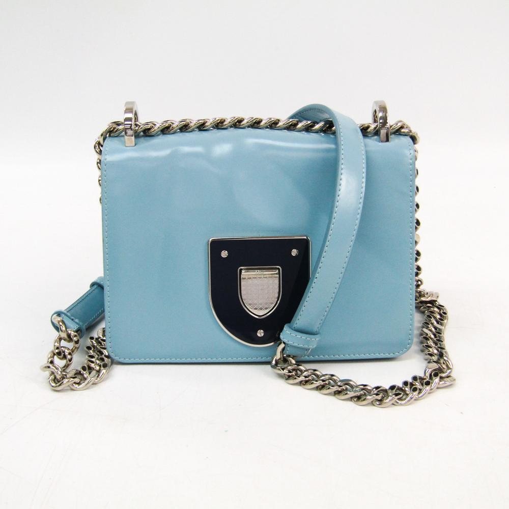 クリスチャン・ディオール(Christian Dior) ディオラマ チェーン レディース レザー ショルダーバッグ ライトブルー,ネイビー