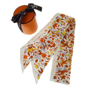 エルメス(Hermes) ツイリー シルク スカーフ オレンジ,ホワイト