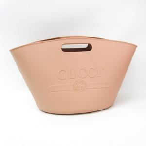 グッチ(Gucci) エンボスロゴ プールバッグ 511261 レディース ラバー ハンドバッグ ピンクベージュ